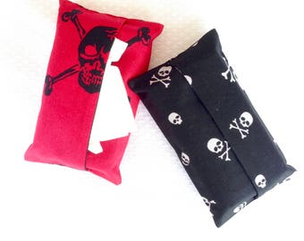 Skull Travel Tissue Cases, Two Tissue Holders, Purse Tissue Cases, Pocket Tissue Bags for Teachers Gift Idea, Goth Tissue Cases, Halloween
