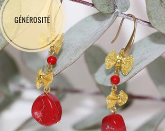 """Lengthh """"generosity"""" with red coral earrings"""