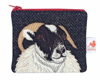 Sheep purse - sheep coin purse - black Harris Tweed purse - sheep zip purse - embroidered sheep purse - wool purse - applique tweed purse