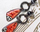 Orange black wings earrings,resin and brass earrings, wirework earrings, long earrings, gift for her, uk shop
