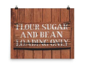 Photo paper poster - Red Silo Original Art - Flour Sugar & Bean