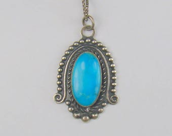 "Bali Style Sterling Turquoise Pendant Necklace ~ 19 1/2"" Chain"