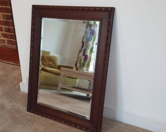 Large Vintage Oak Mirror