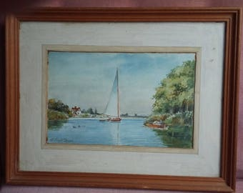 Vintage Watercolour of a Boat, Dinghy and Lake.