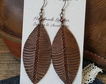 Handmade leather earrings, gypsy boho earrings, cowgirl earrings