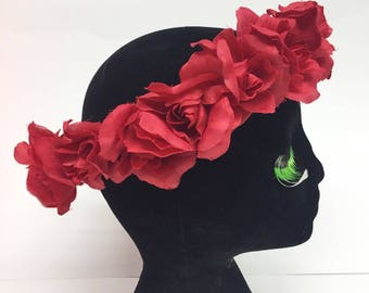 Dead Stock Sale! Red Rose Flower Crown Halo
