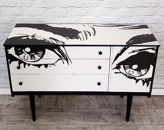 Stunning Upcycled Mid Century Sideboard TVunit Pop Art Eyes Beauty Eyelashes