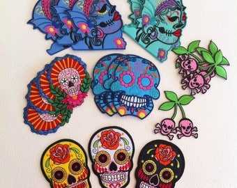 Lot of Day of the Dead Rockabilly embroidered patches