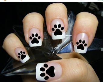 ON SALE 48 PAW Prints Nail Decals (Paw) - Kitten Puppy Dog Paws Black Cat Nail Art Nail Stickers. Black cat paw print nails, Cat Lover Gift