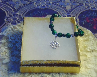 Emeralds & Hearts Woman's Stretch Charm Bracelet