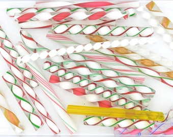 Latticino, Zanfirico and Ribbon Mix Variety Pack,  4 ounce package, 96 COE Fusing and Jewelry Canes #4