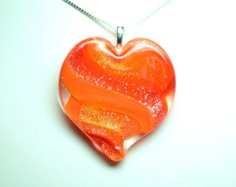 Lampworked Ribbon Stardust Art Glass Heart Pendant, Tangerine with Gold and Silver Stardust