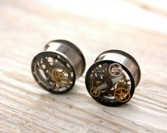 Double Flare 16mm Steampunk Tunnels Gauges Plugs filled with watch parts / Industrial Ear Plug Stretcher / Pair of Plugs with timepieces