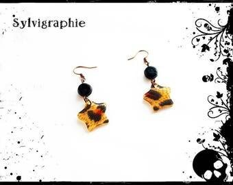 Stars leopard earrings