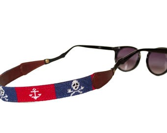 Jolly Roger and Anchor Needlepoint Sunglass Straps