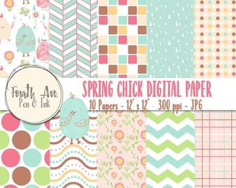 Spring Digital Paper, Pastel Digital Paper, Colorful, Patterned, Spring, Baby, Nursery, Digital Paper, Scrapbook Paper, Digital Collage