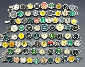 Typewriter Key Bracelets made from Antique typewriter keys
