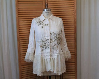 Romantic clothing Embellished white cardigan Embroidery jacket White denim top Up-cycled clothes Women's funky clothing Vintage lace trim XL