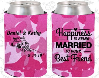 Happiness is Being Married to your Best Friend, Custom Favors, Vintage Wedding, Vintage Car, Beer Sleeve (510)