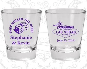 Wedding Favor Shot Glasses, Wedding Shot Glasses, Las Vegas, Wedding Favors, Personalized Glassware, Custom Shot Glasses, Shot Glasses (C55)