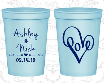 Light Blue Stadium Cups, Light Blue Cups, Light Blue Party Cups, Light Blue Wedding Cups (252)
