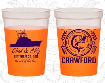Fishing Wedding, Customized Party Mood Cups, Fisherman, Fishing Boat, Fish, Orange Mood Cups (493)