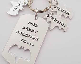 Fathers day This Daddy belongs to unique hand stamped keyring and personalised tags