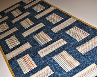 """Modern Quilted Table Runner, Rail Fence Table Mat, Beach House Table Runner, Blue Masculine Table Mat, 41""""x14"""", Quiltsy Handmade"""
