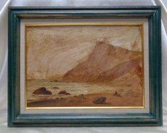 Old Rocky Ocean Print on Board w. Painted Overlay in Beautiful Green Antique Frame