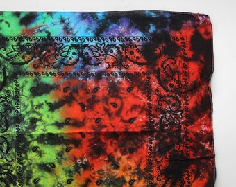 Tie Dye Kids Bandana, Child Trippy Rainbow handkerchief, Hippie Fashion