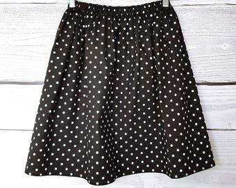 Skirt black white polka dots, black cotton fabric has polka dots