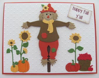 Happy Fall Y'all Cards,Thanksgiving Day Card ,Fall Card, Thanksgiving Card, Scarecrow Thanksgiving Card, Embossed Cards, Fall Scarecrow Card