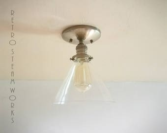 Semi Flush Light  - Hand Aged Brass and Cone Glass Shade Finish Loft Lamp - Hand Made