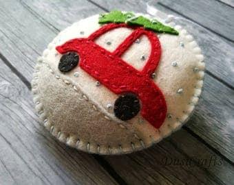 PRE ORDER / Christmas Car ornament, Felt Car with Christmas Tree ornament, Felt christmas ornament, Snowing Tree decoration, Christmas decor