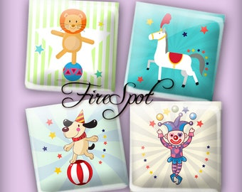Circus Clown Lion Horse - Digital Collage Sheet 1.5inch,1 inch,25 mm,20 mm Square Instant Download.Glass Pendant.Bottlecaps,Scrapbooking