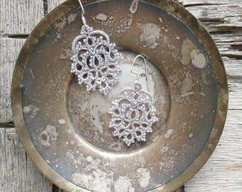 Tatting Lace Jewelry earrings - Lace earrings - Silver Gray earrings - Wedding earrings
