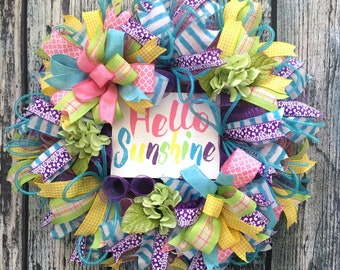 Wreaths for Front Door, Spring Wreaths for Front Door, Deco Mesh Wreaths, Spring Sign Wreath,  Front Door Wreaths Spring Summer