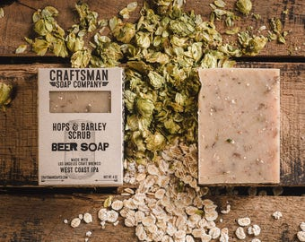 Beer Soap, Hops & Barley IPA Scrub. Vegan Palm-Free Soap. 100% All-Natural Handmade.