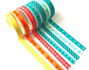 7 rouleaux ruban adhésif, autocollant washi tape neuf