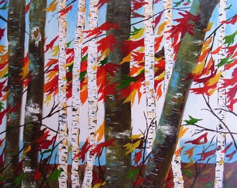 Aspen Tree Painting Birch Tree abstract Painting on Art board, READY TO HANG Autumn Birch Forest, Forest Painting Wall Art by Susie Tiborcz