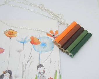 Wooden long necklace with colored pencils in Orange, green and Brown