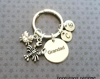 Personalised Grandad gift - Birthday gift for Grandad - Grandad keyring - Crabbing gift - Little crab keyring - Lobster keychain - Etsy UK