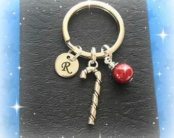 Christmas keyring - Personalised candy cane keychain - Christmas gift - Candy cane keyring - Red bauble keyring - Stocking filler - Etsy UK