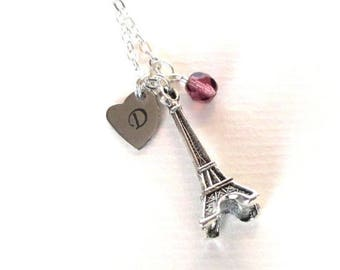 SALE Personalised Eiffel Tower necklace - Paris gift - Birthstone jewellery - Eiffel Tower birthstone necklace - Birthday gift for her - UK