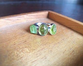 Raw rough peridot, rough facet peridot and peridot cabochon sterling silver ring, raw gemstone ring, peridot ring, August birthstone