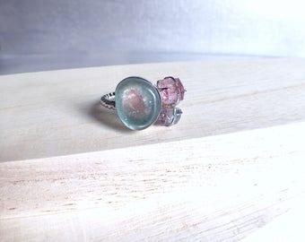 Tourmaline slice, bicolor slice, blue tourmaline, raw tourmaline, tourmaline ring, bicolor tourmaline, raw gemstone ring, raw crystal ring