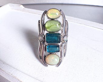 Statement ring, gemstone ring, tourmaline opal, tourmaline ring, opal ring, blue tourmaline ring, ooak ring, crystal ring, unique jewelry