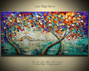 Tree Landscape Original Oil Painting Contemporary Modern Palette Knife Painting by Lana Guise