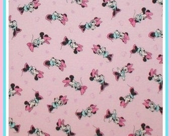 Minnie Mouse fabric in pink and aqua