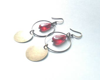 Red glass beads and bronze earrings